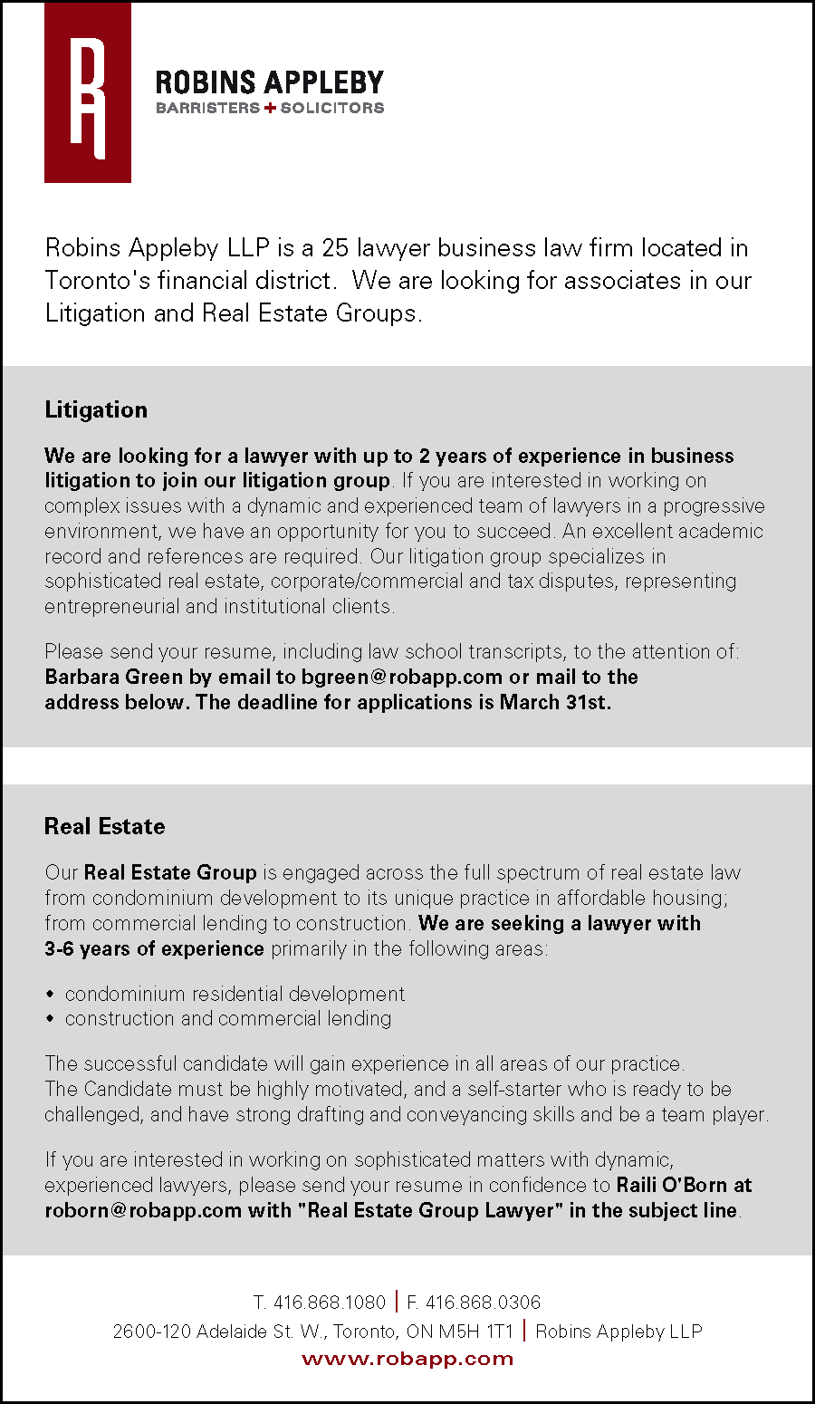 Robins Appleby - 4.5x7.75 Colour Ad - Ontario Reports_Seeking Litigation & Real Estate Lawyers